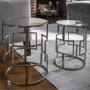 Magness Stainless Steel Mirrored 2 Piece Nesting Tables