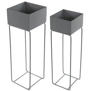 2-tlg. Quadratisches Übertopf-Set