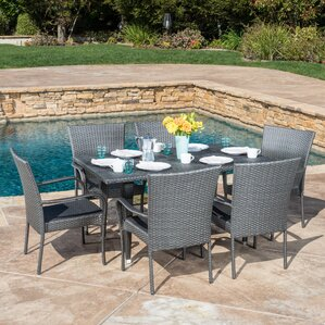 Marissa Outdoor 7 Piece Dining Set