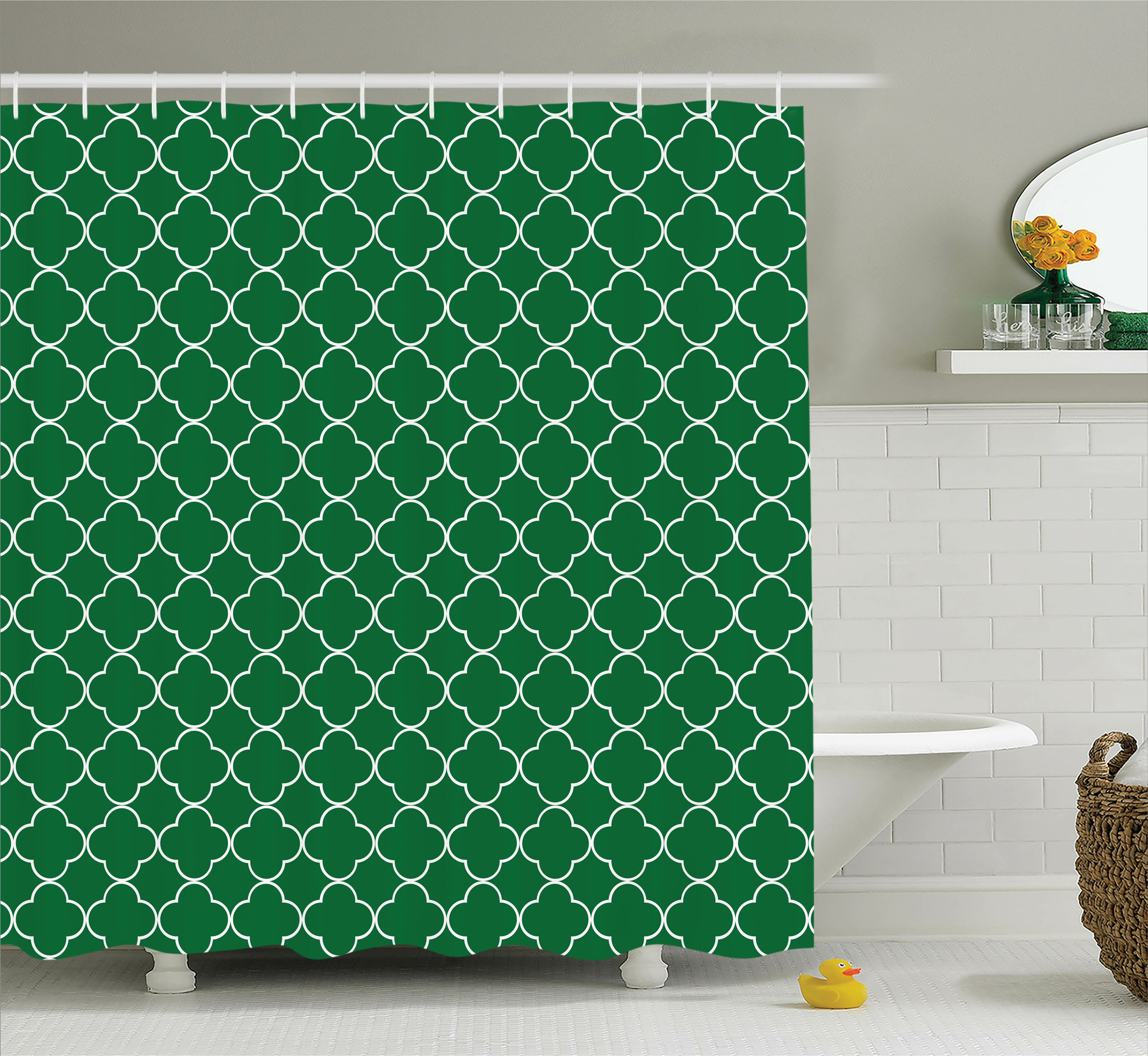 Red Barrel Studio Timberlane Quatrefoil Four Leaf Clover On Moroccan Trellis Mosaic Digital Print House Cafe Decor Single Shower Curtain Wayfair