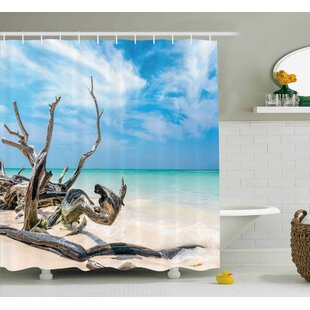 Reviews Lara Driftwood Seascape Theme Branches on Sandy Beach of Cuba and The Sky Image Shower Curtain By Highland Dunes