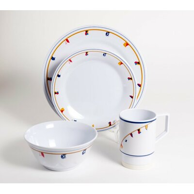 Galleyware  Company Decorated Flags Melamine 16 Piece Dinnerware Set, Service for 4