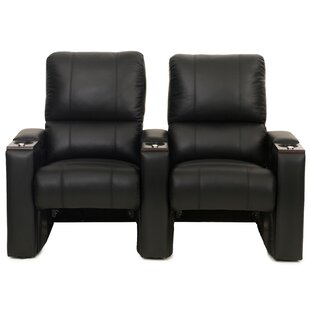 Latitude Run Bonded Leather Manual Rocker Recline Home Theater Row Seating (Row of 2)