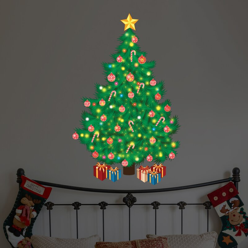 Magic Traditional Looking Christmas Tree Wall Decal