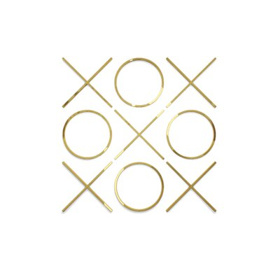 Brayden Studio Decorative Tic Tac Toe Hanging Big Wall Décor Size: 30 H x 30 W x 2 D, Finish: Gold