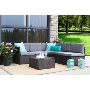 Wrought Studio Mabie Complete 4 Piece Rattan Sectional/Sofa Set with Cushions