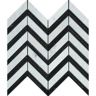 """Carrara Honed Chevron 11.75"""" x 11"""" Marble Mosaic Tile by"""