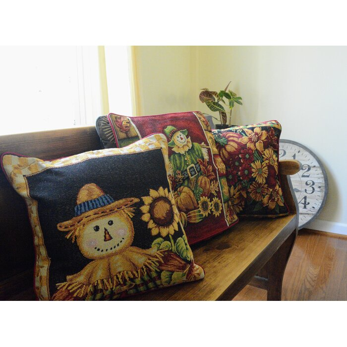 Peachy Keagan Sunflower Field Scarecrow Woven Tapestry Throw Pillow Cover Pabps2019 Chair Design Images Pabps2019Com