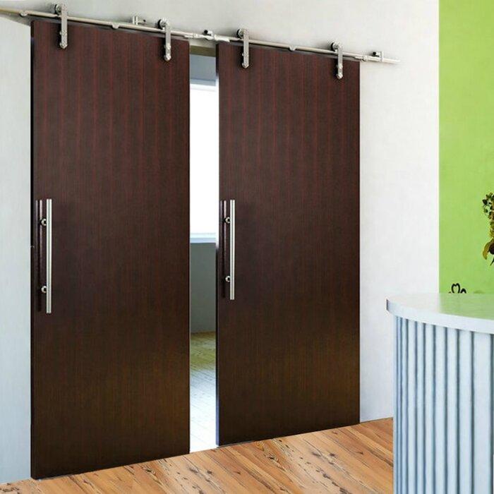 European Modern Sliding Wood Standard Double Barn Door Hardware Kit