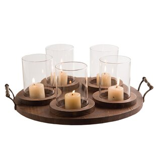 5 Pillar Round Glass Candelabra