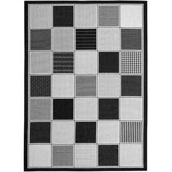 Winston Porter Poff Power Loom Black White Rug Reviews Wayfair