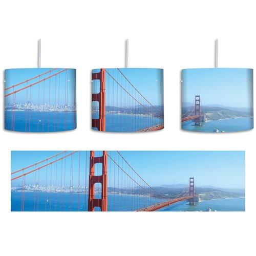 Trommel Pendelleuchte 1 flammig Golden Gate Bridge in San Francisco East Urban Home Schirmfarbe: BlauRot