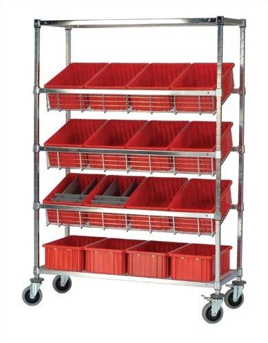 Slanted Wire Pick Racks Storage Unit With Dividable Grid Bins