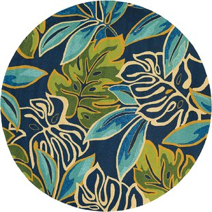 Mariann Areca Palms Hand-Hooked Azure/Green/Navy Blue Indoor/Outdoor Area Rug