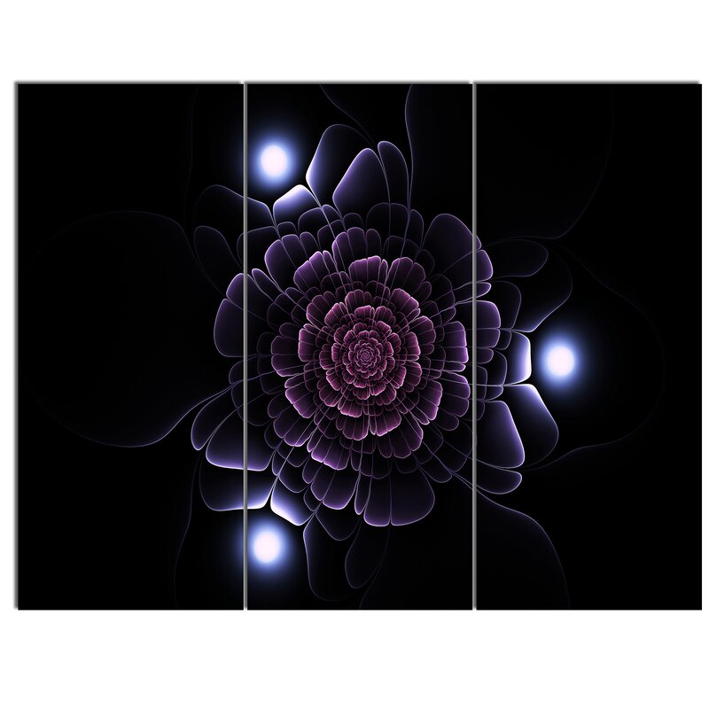 Designart Purple Fractal Flower On Dark 3 Piece Graphic Art On Metal Set Wayfair