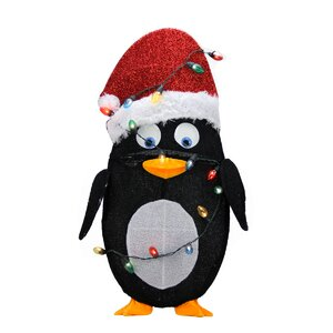 Candy Lane Pre-Lit Cane 2D Penguin Christmas Yard Art Decoration