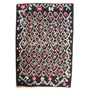 Find Turkish Kilim Hand-Woven Wool Black/White Area Rug ByPasargad NY