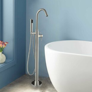 Read Reviews Single Handle Floor Mounted Freestanding Tub Filler with Hand Shower By WoodBridge