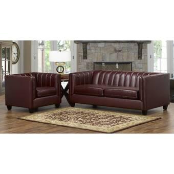 Westland And Birch Lyons 2 Piece Leather Living Room Set Wayfair