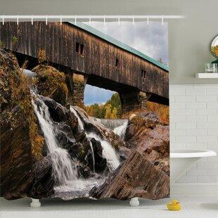Waterfall Rustic Oak Bridge Shower Curtain Set