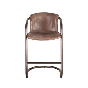 Gunter Distressed Leather Bar Stool (Set of 2) Williston Forge