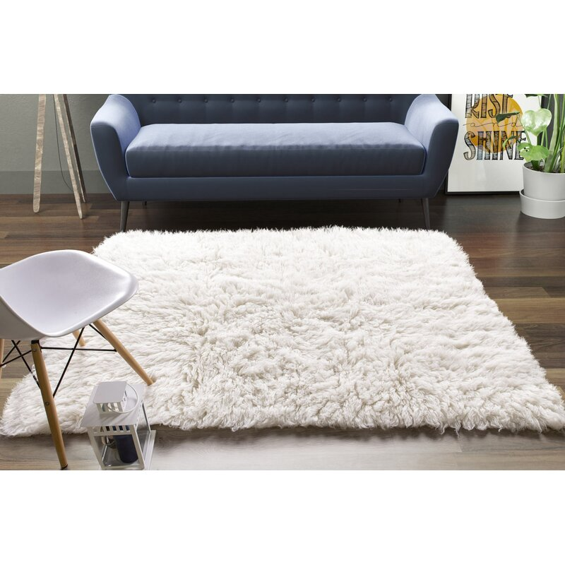 Wrought Studio Stonecipher Handmade Shag Wool White Area Rug Reviews Wayfair