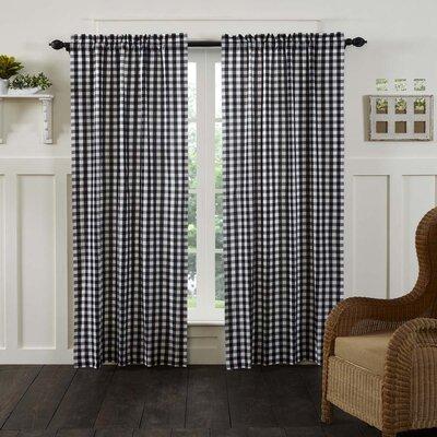 "August Grove Caulder Buffalo Check Lined 100 percent Cotton Curtain Panels  Curtain Color: Black, Size per Panel: 40"" W x 84"" L"