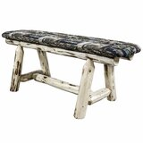 Antigo Faux Leather Wood Bench by Millwood Pines