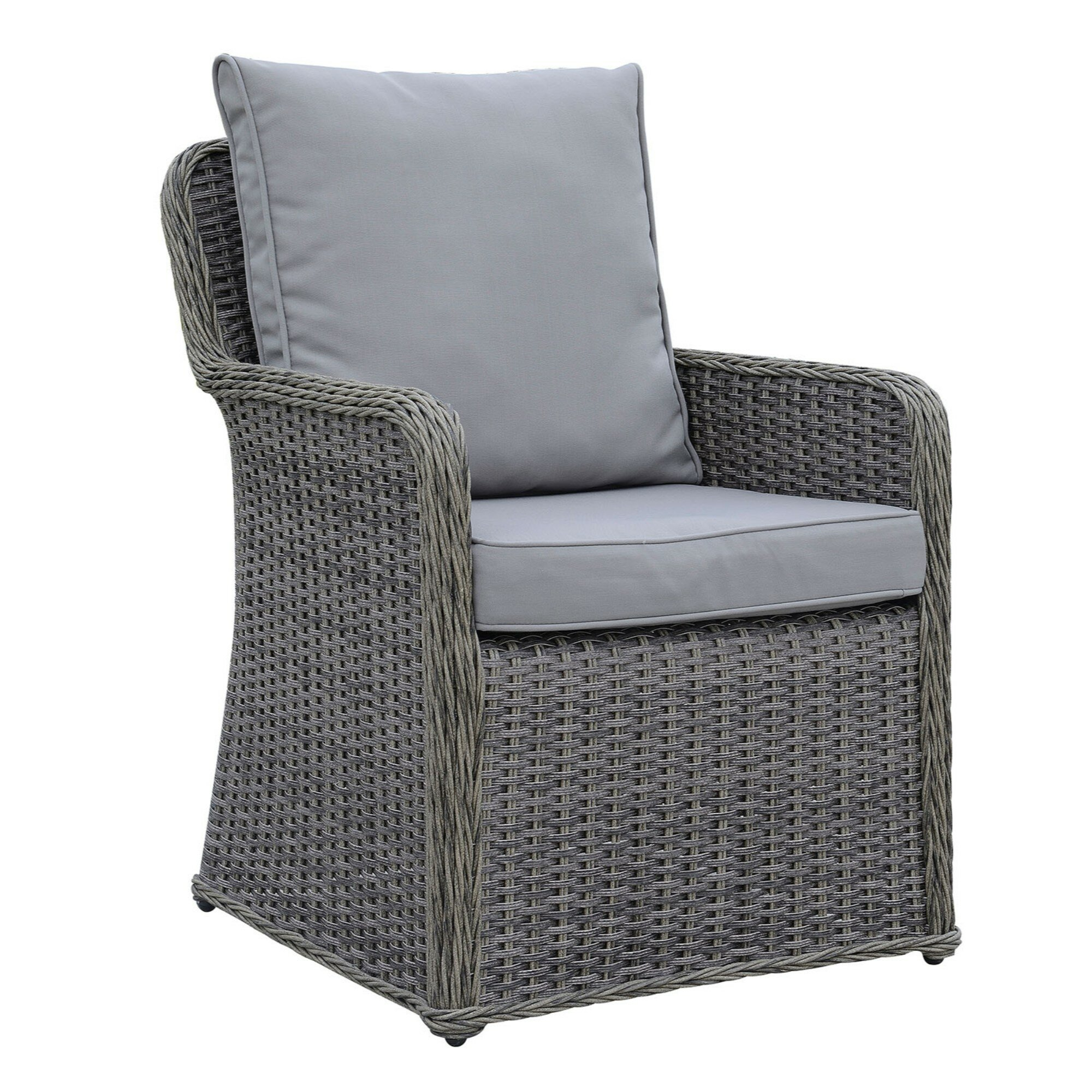 One Allium Way Winston Aluminum Wicker Frame Patio Dining Chair With