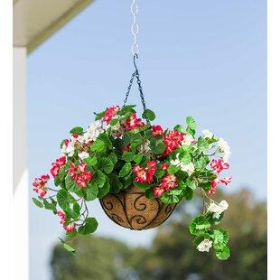 Everlasting Faux Hanging Geranium Flowering Plant In Basket
