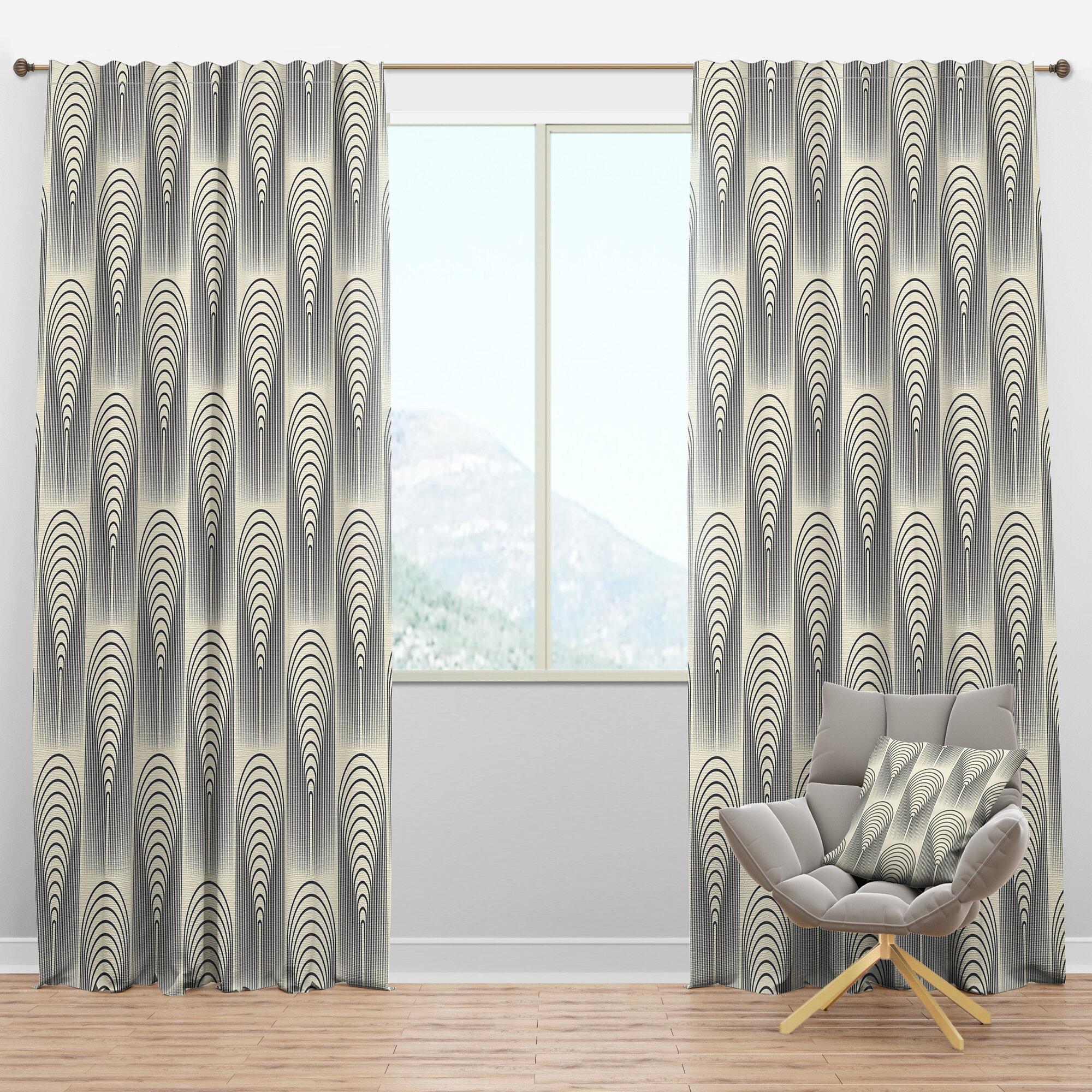 Designart Mid Century Conical Geometric Semi Sheer Thermal Rod Pocket Single Curtain Panel Wayfair