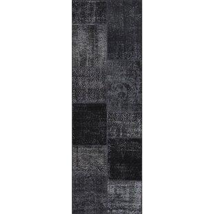 Affordable Renita Antique Patchwork Hand-Knotted Black Area Rug ByBloomsbury Market