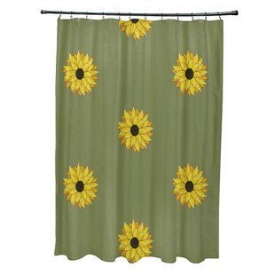 Vieux Sunflower Frenzy Flower Print Single Shower Curtain