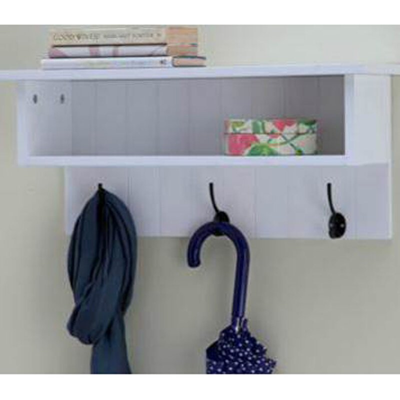 Wall Mounted Hall Rack with Storage and 3 Coat Hooks & Castleton Home Wall Mounted Hall Rack with Storage and 3 Coat Hooks ...