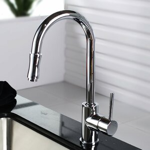 Kraus Single Handle Pull Down Kitchen Faucet Set with Spray Dispenser
