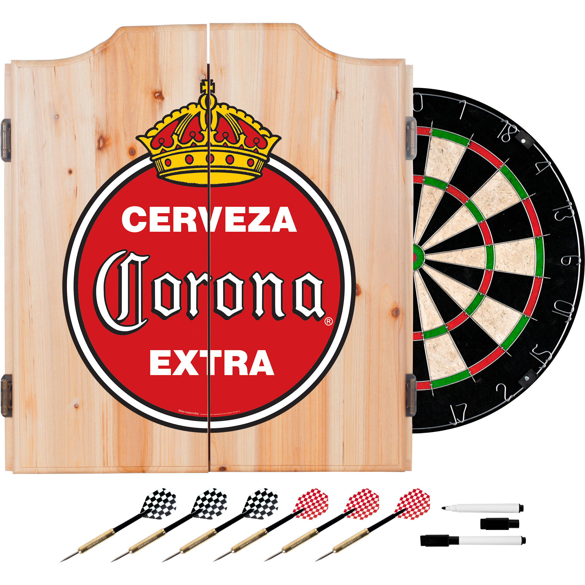 trademark global corona vintage dartboard and cabinet set wayfair rh wayfair com vintage wooden dart board cabinet vintage dart board cabinet uk