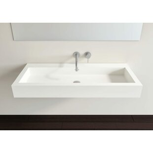 Where buy  Polymarble 39 Wall Mount Bathroom Sink with Overflow By Badeloft