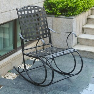 Schilling Nailhead Iron Patio Rocking Chair Alcott Hill