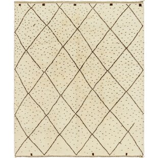 Price comparison One-of-a-Kind Ilfracombe Hand-Knotted 10' x 12' Wool Ivory/Black Area Rug By Isabelline