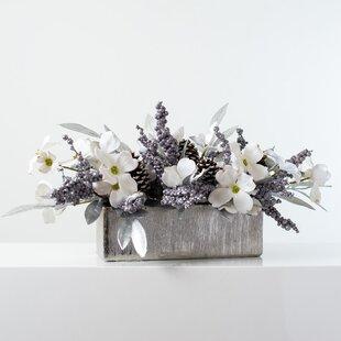 Centre de Table de No/ël Standard XL Blanc Hiver 4 bougeoirs 45 cm d/écoration