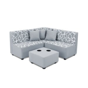 Kids Cotton Sectional and Ottoman with Cup Holder by kangaroo trading company