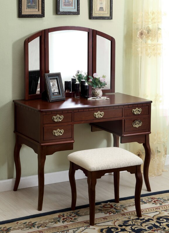 Falconer 3 Piece Vanity and Stool Set. Darby Home Co Falconer 3 Piece Vanity and Stool Set   Reviews
