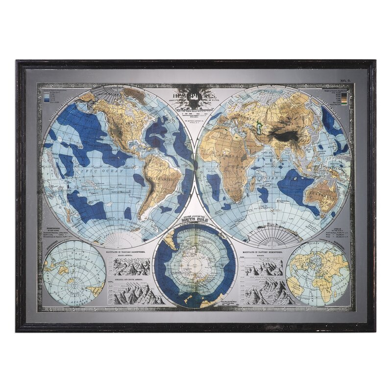 Lujoso world map framed picture modelo ideas personalizadas de darby home co mirrored world map framed graphic art reviews wayfair gumiabroncs Images