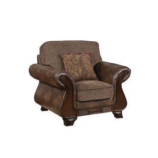 Horncastle Fabric and Leather Armchair By Fleur De Lis Living