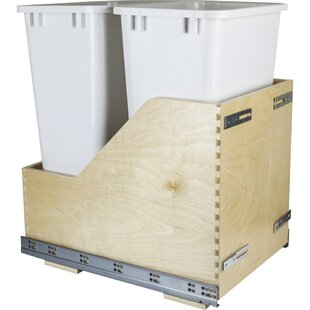Double Solid Wood 12.5 Gallon Open Pull Out/Under Counter Trash Can by Hardware Resources