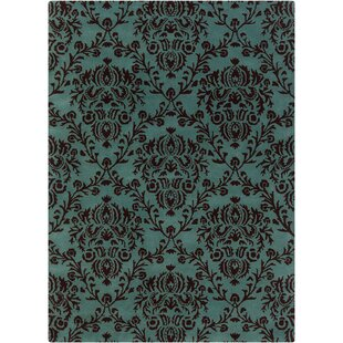 Dollins Green/Black Floral Area Rug By House of Hampton
