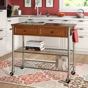 Kibbe Kitchen Island with Wood Top Red Barrel Studio