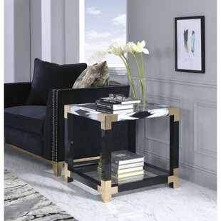 Shanitaortia Modern Square Metal and Glass End Table by Everly Quinn