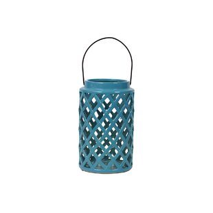 Urban Trends Ceramic Lantern with Handle Gloss Steel Blue