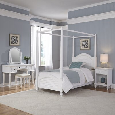 Harrison Canopy 4 Piece Bedroom Set Color: Brushed White